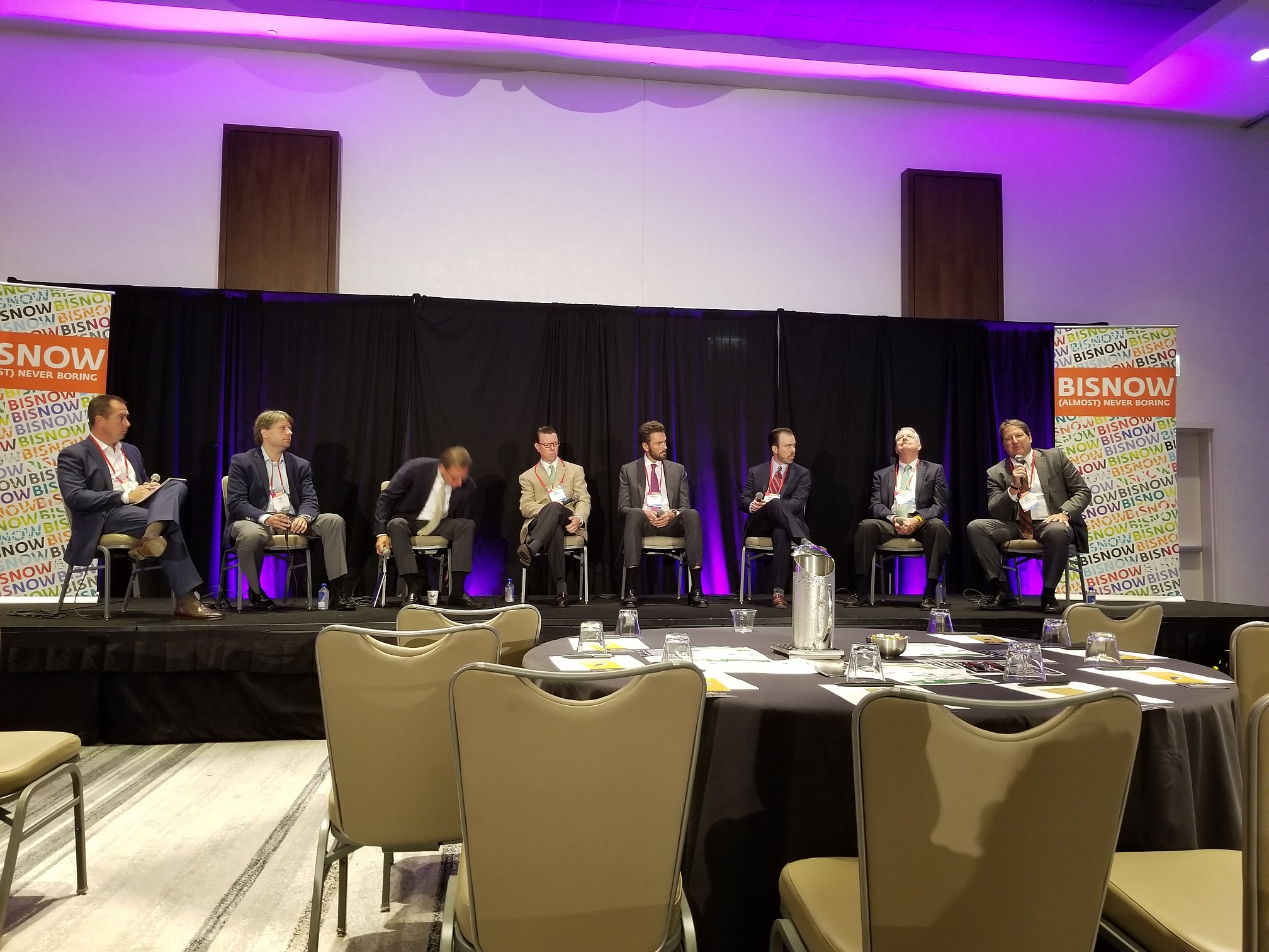 "Art Rendak speaks on the ""Investment & Capital Markets"" panel at the 2018 Bisnow Industrial Midwest Conference."